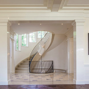 Elegant curved metal railing staircase photo in New York