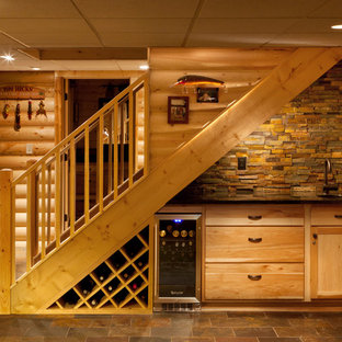 Inspiration for a rustic staircase in Milwaukee.
