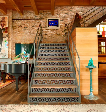 Contemporary Staircase by Wells & Fox