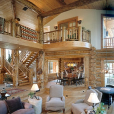 Rustic Staircase by Teton Heritage Builders
