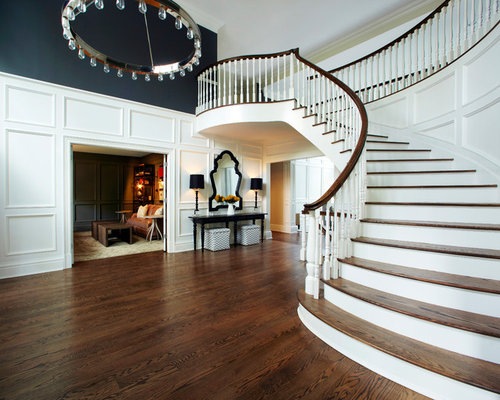 Inspiration For A Transitional Wooden Curved Staircase Remodel In New York