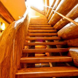 デンバーの中サイズの木のラスティックスタイルのおしゃれな直階段 (木材の手すり) の写真