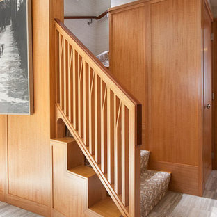 Staircase - mid-sized modern wooden l-shaped staircase idea in Boston with wooden risers