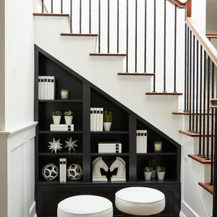 Example of a transitional wooden l-shaped mixed material railing staircase design in Los Angeles