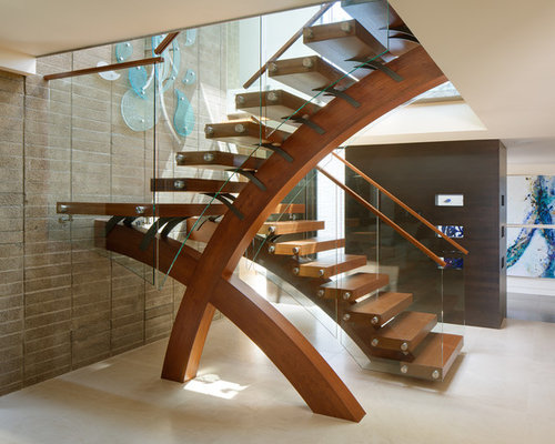 Awesome Inspiration For A Contemporary Wooden U Shaped Open And Mixed Material  Railing Staircase Remodel In