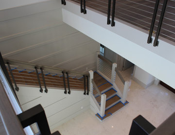 White Oak & Stainless Steel Rod Staircase