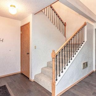 シアトルのカーペット敷きのトラディショナルスタイルのおしゃれな階段 (カーペット張りの蹴込み板) の写真