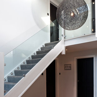 Design ideas for a contemporary carpeted straight staircase in London with carpeted risers.