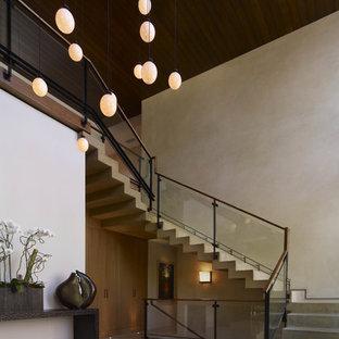 Idée de décoration pour un escalier design avec des marches en béton et des contremarches en béton.