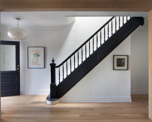 Example Of A Transitional Wooden Straight Wood Railing Staircase Design In  New York