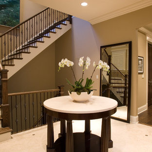 Example of a classic wooden l-shaped staircase design in Chicago with painted risers