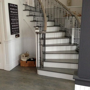 Wood Floor & Stair Refinishing - Grey Stained Coloured