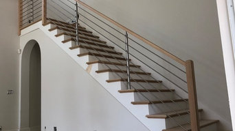 Wood Handrails with Horizontal Stainless Steel Rods