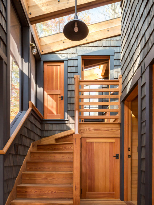 Small Mountain Style Wooden L Shaped Wood Railing Staircase Photo In  Portland Maine