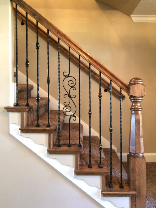 Inspiration For A Small Timeless Carpeted Straight Staircase Remodel In  Salt Lake City