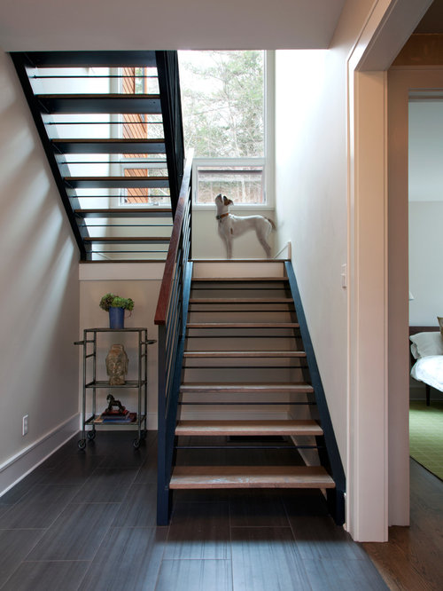 Open stair to basement home design ideas renovations photos for Open staircase designs