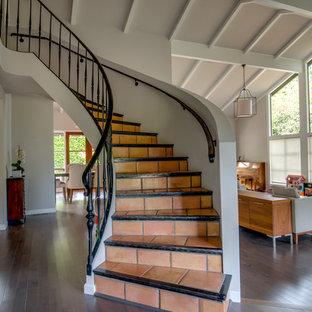 Ispirazione per una scala a chiocciola design di medie dimensioni con pedata in terracotta, alzata in terracotta e parapetto in legno