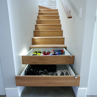 Example of a small trendy wooden l-shaped staircase design in Sydney with wooden risers
