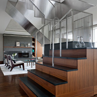Staircase - mid-sized contemporary u-shaped staircase idea in Boston