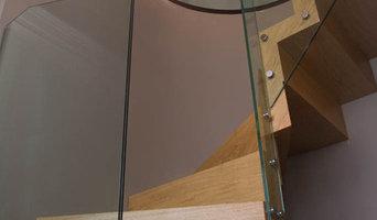 Zig Zag winder staircase, European Oak and Glass