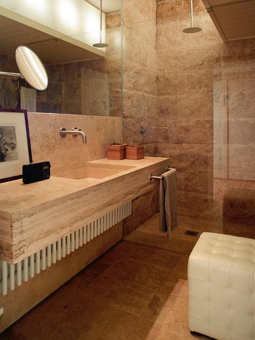 Bagno con top in marmo e lastra di pietra - Foto, Idee, Arredamento