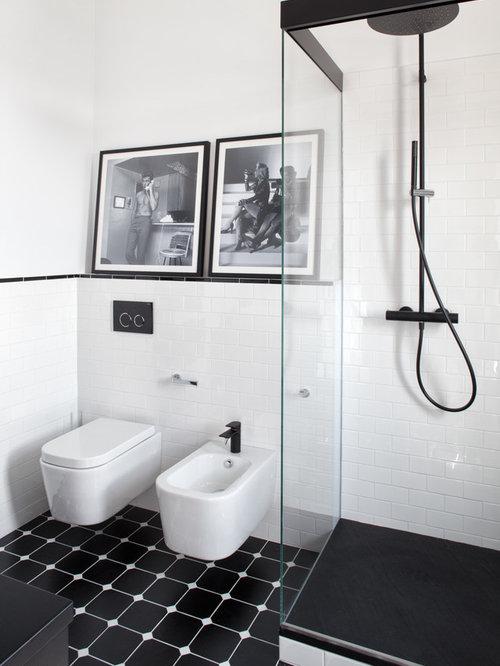 bagno con piastrelle diamantate - foto, idee, arredamento - Bagni Moderni Bianchi E Neri