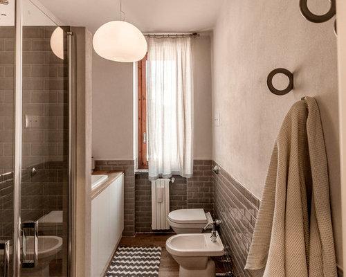 Piccolo bagno con piastrelle diamantate foto idee - Piastrelle diamantate bagno ...