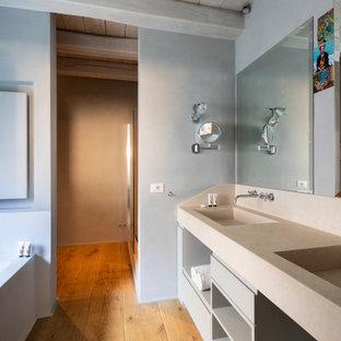 Foto di una grande stanza da bagno padronale mediterranea con ante grigie e due lavabi