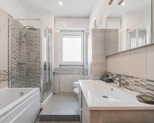 bagno moderno con piastrelle beige - foto, idee, arredamento - Bagni Moderni Con Vasca