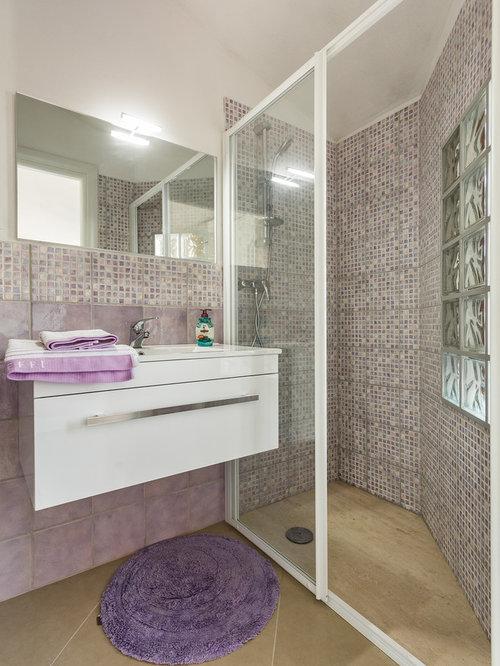 Foto e idee per bagni con doccia - Piastrelle grigie bagno ...