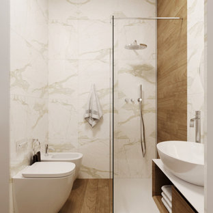 Design ideas for a small modern bathroom in Rome with white tile, ceramic tile, white walls, wood-look tile and a single vanity.