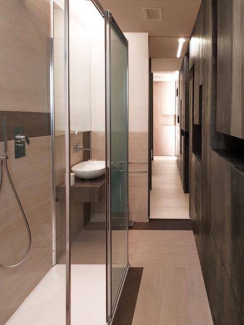 Foto e idee per bagni con piastrelle marroni - Una piastrella policroma per rivestimenti ...