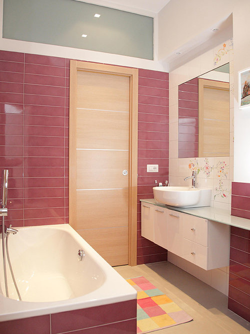 Inspiration For A Mid Sized Modern White Tile, Pink Tile And Ceramic Tile  Porcelain