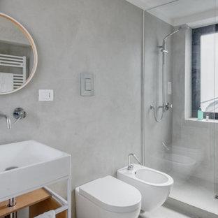 Idee per una stanza da bagno minimal con pareti beige, pavimento in cemento e pavimento beige