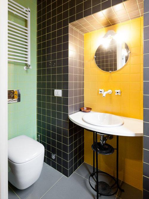 Bagno con piastrelle gialle foto idee arredamento - Piastrelle bagno pietra ...