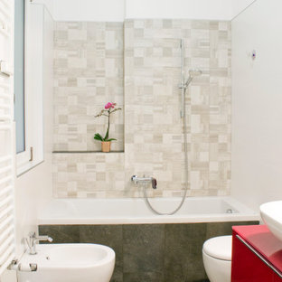 Mid-sized trendy white tile and ceramic tile porcelain floor, gray floor and single-sink freestanding bathtub photo in Rome with beaded inset cabinets, red cabinets, a wall-mount toilet, white walls, a vessel sink, wood countertops, red countertops and a floating vanity