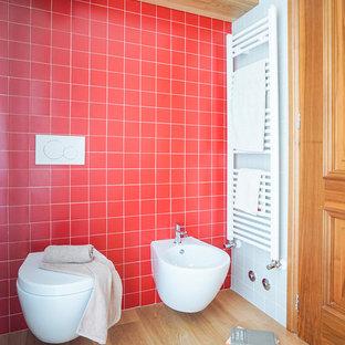Bathroom   Small Contemporary 3/4 Red Tile Light Wood Floor And Beige Floor  Bathroom