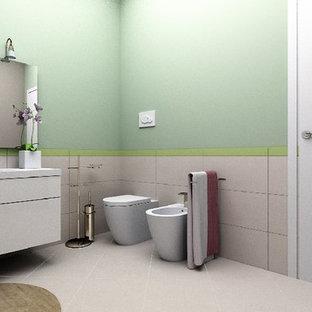 Ejemplo de cuarto de baño con ducha, actual, de tamaño medio, con armarios con paneles lisos, ducha esquinera, sanitario de dos piezas, baldosas y/o azulejos de porcelana, paredes multicolor, suelo de baldosas de porcelana, lavabo integrado, suelo rosa, ducha con puerta con bisagras, puertas de armario blancas, encimera de cuarzo compacto y baldosas y/o azulejos rosa