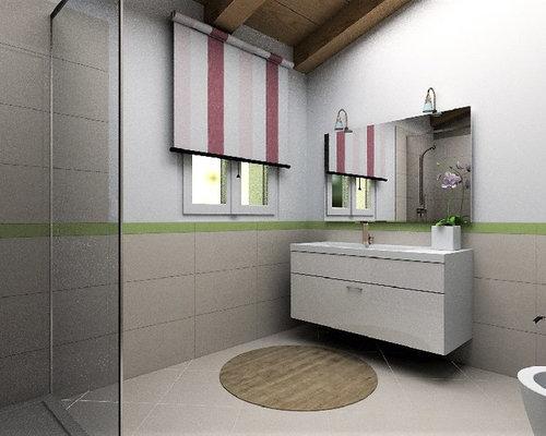 salle de bain avec un carrelage rose et un mur multicolore photos et id es d co de salles de bain. Black Bedroom Furniture Sets. Home Design Ideas