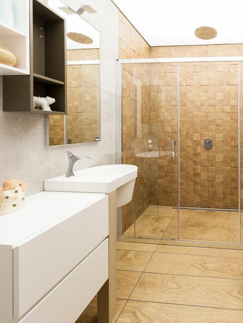 Bagno con doccia moderno foto idee arredamento - Piastrelle tipo veneziana ...