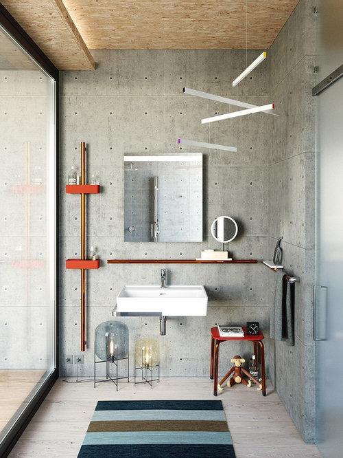 Stanza da bagno con piastrelle grigie - Foto, Idee, Arredamento