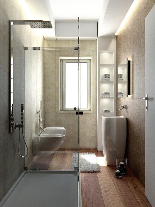Foto e idee per bagni bagno con pavimento in legno - Stanza da bagno ...