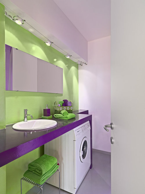 1 bathroom and cloakroom with purple cabinets and green for Green and purple bathroom ideas