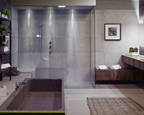 Bagno con piastrelle di cemento foto idee arredamento - Piastrelle in cemento ...