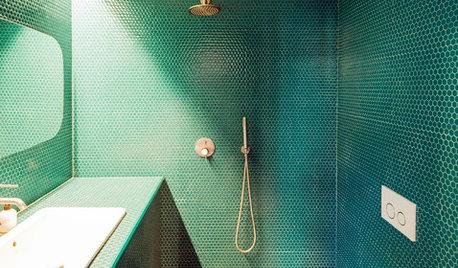 Mattonelle Bagno Verde Acqua : Idee per rivestire il bagno con piastrelle verde smeraldo