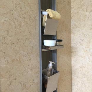 Imagen de cuarto de baño con ducha, contemporáneo, de tamaño medio, con armarios abiertos, puertas de armario beige, ducha a ras de suelo, sanitario de dos piezas, baldosas y/o azulejos de mármol, paredes blancas, suelo de mármol, lavabo sobreencimera, encimera de mármol, suelo amarillo y encimeras grises
