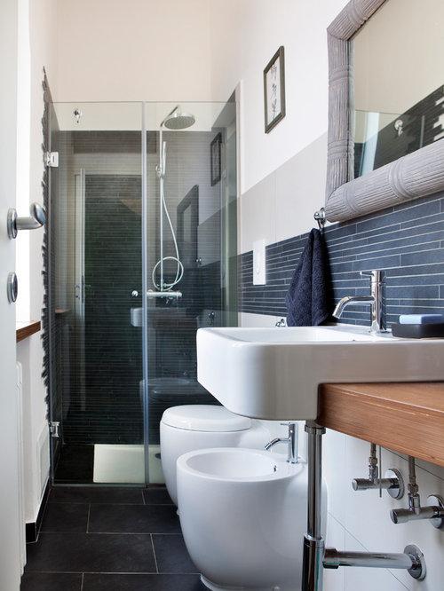 Salle d\'eau moderne avec une douche à l\'italienne : Photos et ...