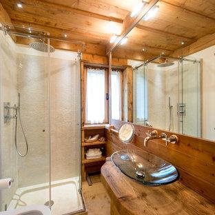 Idee per una stanza da bagno con doccia rustica con ante lisce, ante in legno scuro, doccia ad angolo, pavimento in legno massello medio, lavabo a bacinella, top in laminato e porta doccia scorrevole