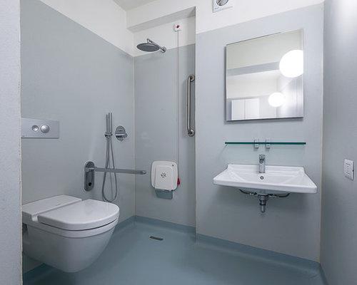 badezimmer mit linoleumboden und offener dusche ideen. Black Bedroom Furniture Sets. Home Design Ideas