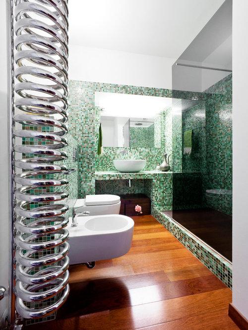Bagno con nessun\'anta e piastrelle verdi - Foto, Idee, Arredamento